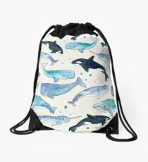 Whales, Orcas & Narwhals Drawstring Bag