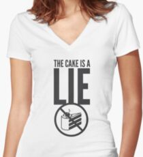 Portal - Cake is a Lie Women's Fitted V-Neck T-Shirt