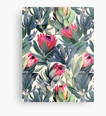 Painted Protea Pattern Metal Print