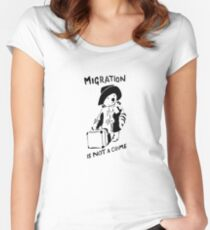 Migration Is Not A Crime - Banksy Women's Fitted Scoop T-Shirt