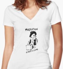 Migration Is Not A Crime - Banksy Women's Fitted V-Neck T-Shirt
