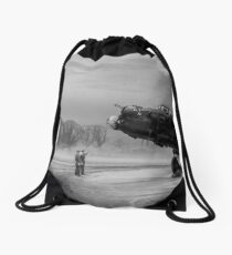 Time to go: Lancasters on dispersal, B&W version Drawstring Bag