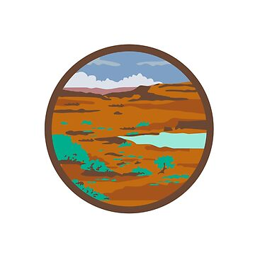 Desert Scene Circle Retro by patrimonio