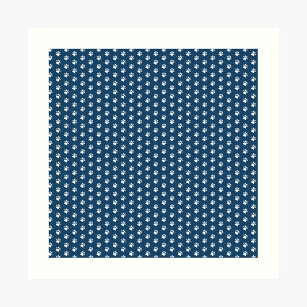 Cat Paw Print in White and Navy Art Print