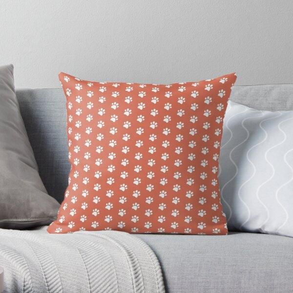 Cat Paw Print in White and Salmon Throw Pillow