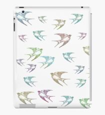 Pastel Birds Oil Painting Flock Traveling Together, Animals Nature Print iPad Case/Skin