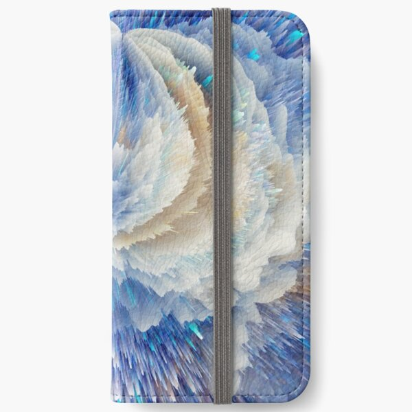 Blue abstract floral art  iPhone Wallet