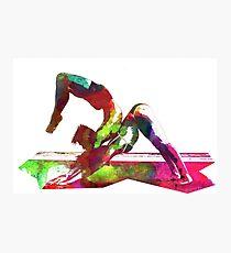 Couple yoga watercolour art Photographic Print