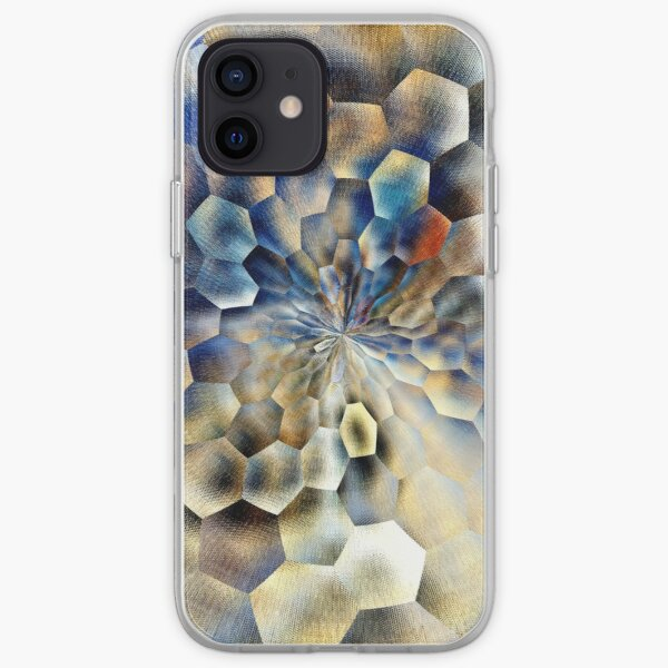 Blue abstract floral art  iPhone Soft Case