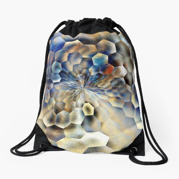 Blue abstract floral art  Drawstring Bag