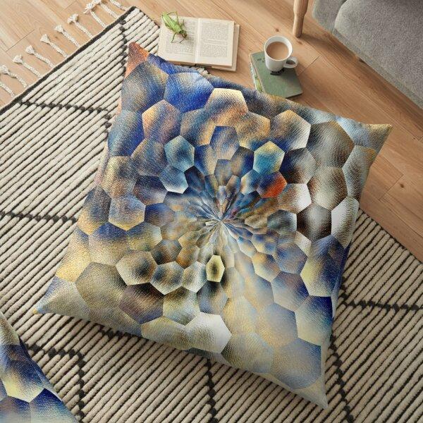 Blue abstract floral art  Floor Pillow