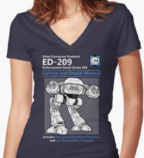 ED-209 Service and Repair Manual Women's Fitted V-Neck T-Shirt