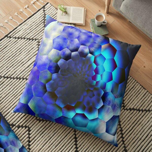 Blue abstract geometric art  Floor Pillow