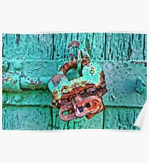 Old Lock on wooden gate Poster