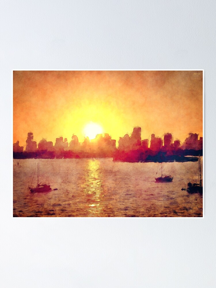 Alternate view of Sunset Over Miami Florida Poster
