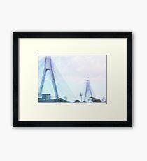 Sydney Anzac Bridge Vaporwave Landscape Framed Print