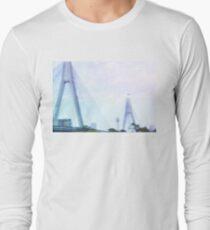 Sydney Anzac Bridge Vaporwave Landscape Long Sleeve T-Shirt