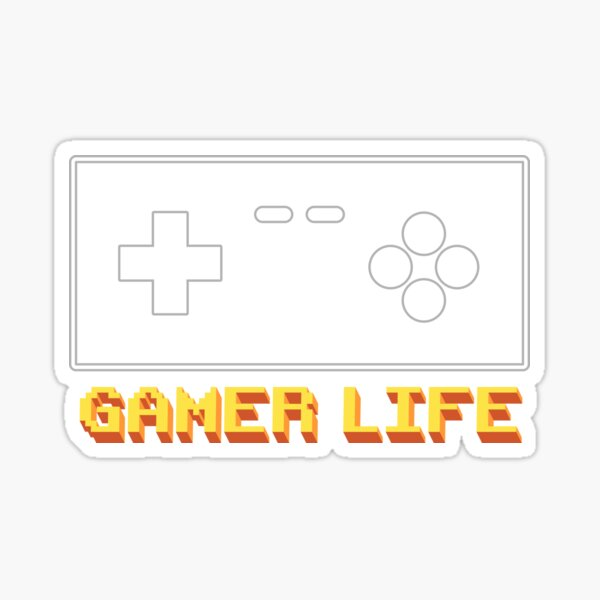 Retro Gamer Life with Vintage Games Console Controller in Green Sticker