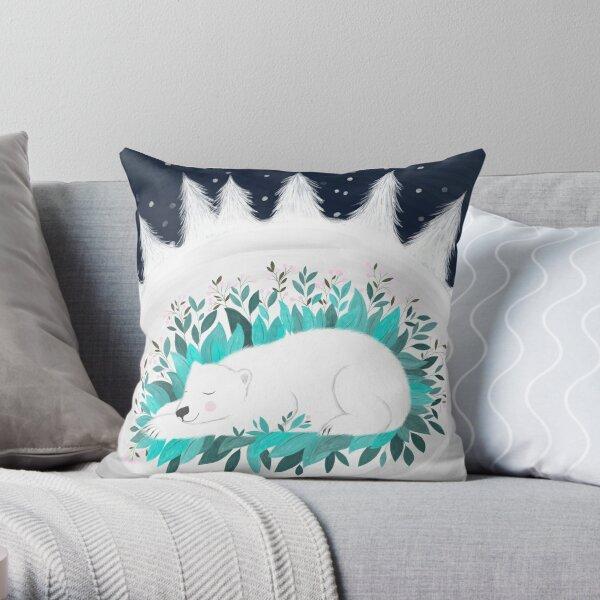hibernating polar bear illustration Throw Pillow