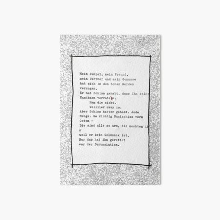 Mein Kumpel, mein Freund ... Gedicht 9 - Lockdown, ein C-movie Galeriedruck