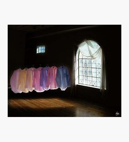 Shirts in a Room of Darkness and Light Photographic Print