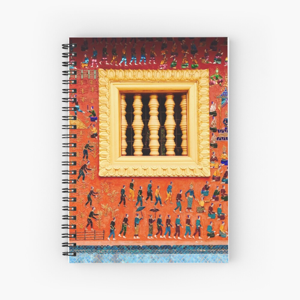 Artwork on the wall: Wat Xieng Thong, Luang Prabang, Laos Spiral Notebook