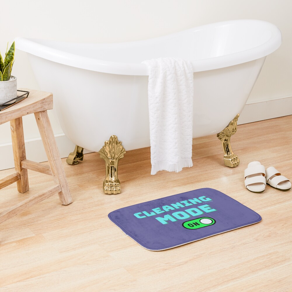 Retro Cleaning Mode Game Button - House Cleaning Humor Bath Mat
