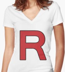 Pokemon - Team Rocket Logo Women's Fitted V-Neck T-Shirt