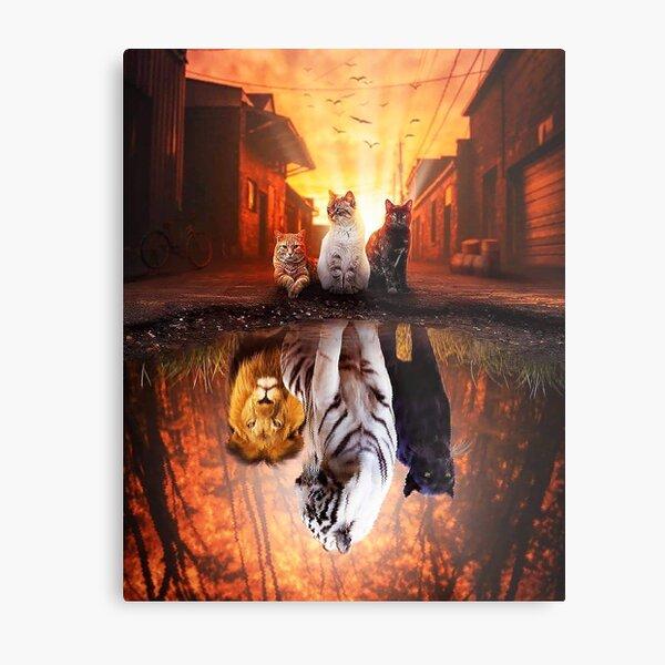 Cat vs Tiger - Cat is Tiger  Reflection Metal Print