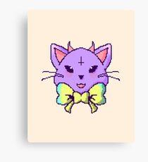 Pixel Pastel Goth Kitty  Canvas Print