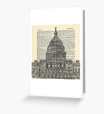 Capitol Building with Dictionary paper background Greeting Card