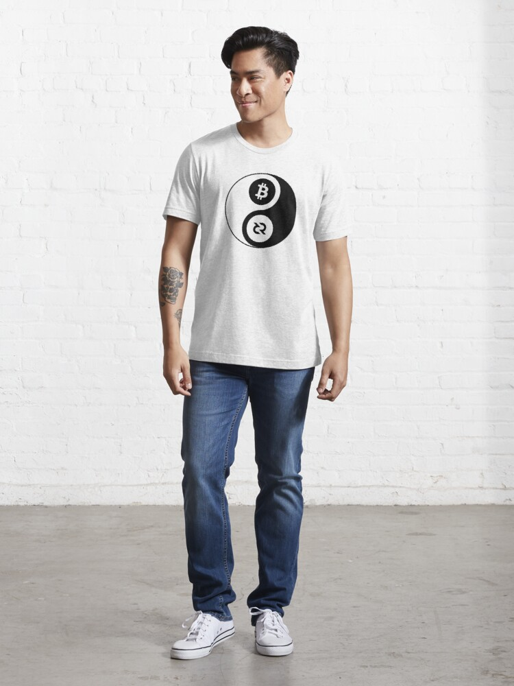 Alternate view of Decred Yin Yang ™ v1 'Design timestamped by https://timestamp.decred.org/' Essential T-Shirt