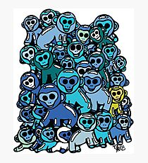 The Shiny Blue Monkey Pile Accepts the Odd Monkey Out Photographic Print