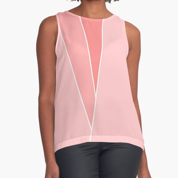 Coral Geometric Abstract  Sleeveless Top