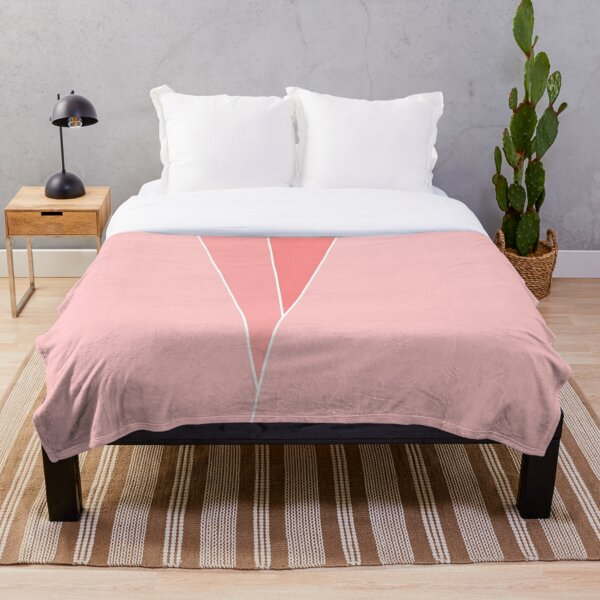 Coral Geometric Abstract  Throw Blanket