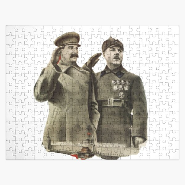#Stalin #Soviet #Propaganda #Posters #twopeople #matureadult #adult #standing #militaryofficer #militaryperson #military #people #uniform #army #portrait #militaryuniform #war #realpeople #men #males Jigsaw Puzzle