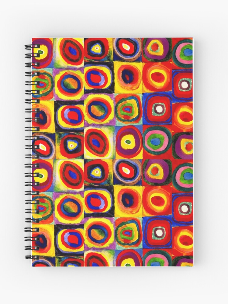 Kandinsky Modern Squares Circles Colorful Spiral Notebook
