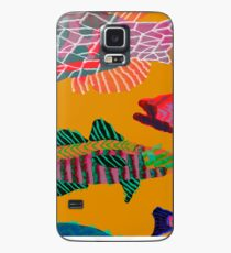 Colorful Abstract Fish Art Drawstring Bag in Yellow and Black  Case/Skin for Samsung Galaxy