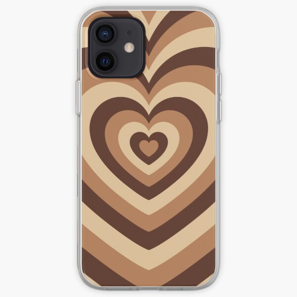 Latte Love, Brown Hearts iPhone Soft Case