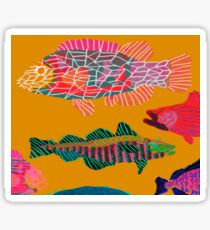 Colorful Abstract Fish Art Drawstring Bag in Yellow and Black  Sticker