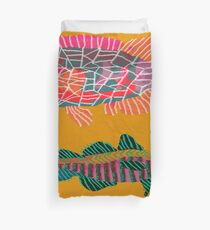 Colorful Abstract Fish Art Drawstring Bag in Yellow and Black  Duvet Cover
