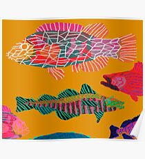 Colorful Abstract Fish Art Drawstring Bag in Yellow and Black  Poster
