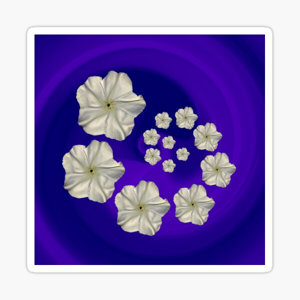 Spiral Moon Flower Purple/Blue Swirl Sticker
