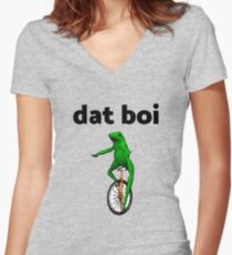 dat boi unicycle frog me_irl meme Women's Fitted V-Neck T-Shirt