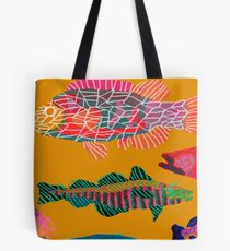 Colorful Abstract Fish Art Drawstring Bag in Yellow and Black  Tote Bag