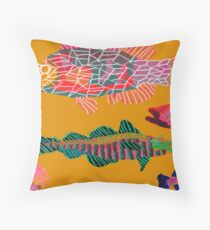 Colorful Abstract Fish Art Drawstring Bag in Yellow and Black  Throw Pillow