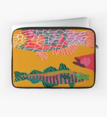 Colorful Abstract Fish Art Drawstring Bag in Yellow and Black  Laptop Sleeve