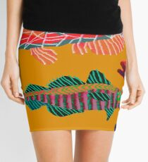 Colorful Abstract Fish Art Drawstring Bag in Yellow and Black  Mini Skirt