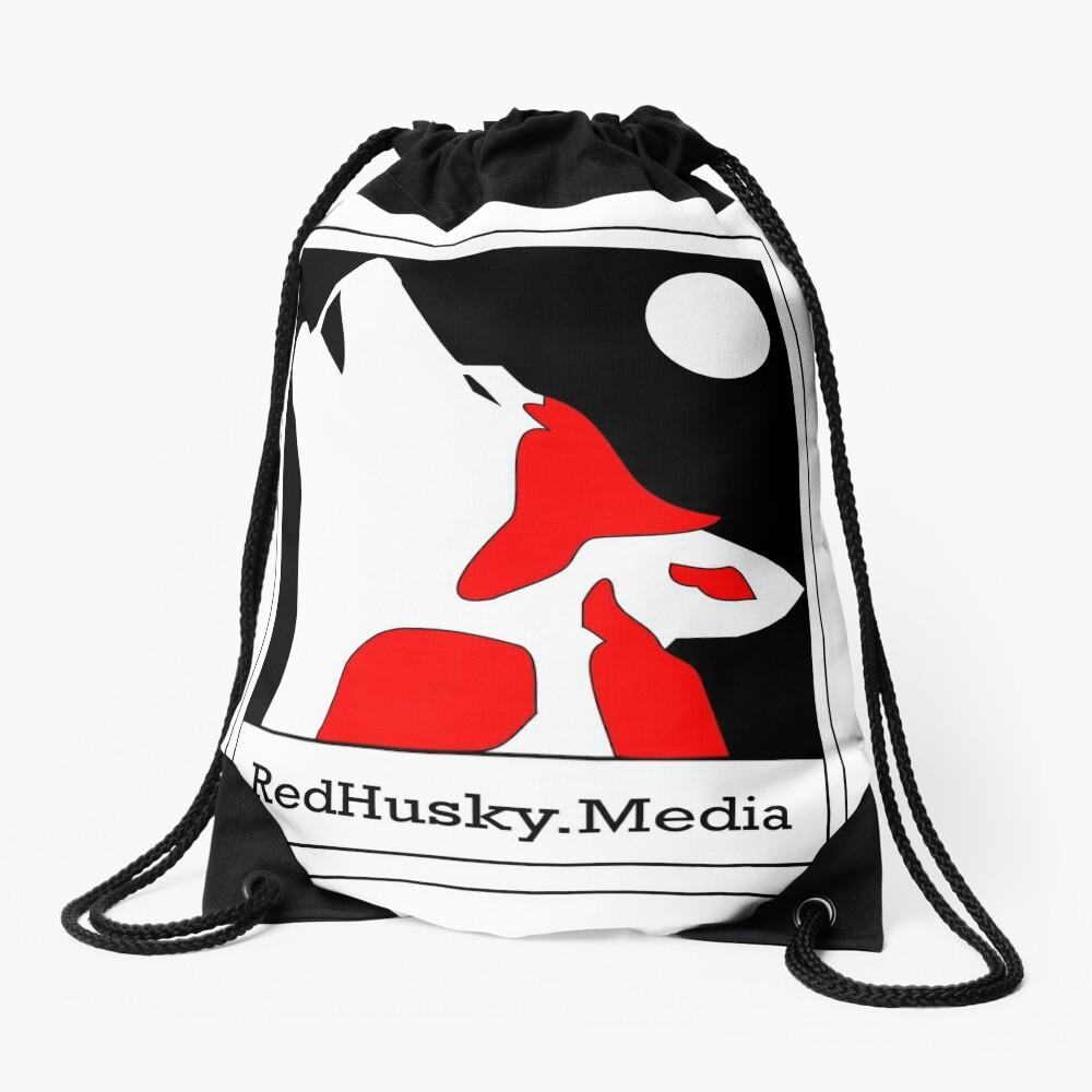 Red Husky Media Logo Drawstring Bag