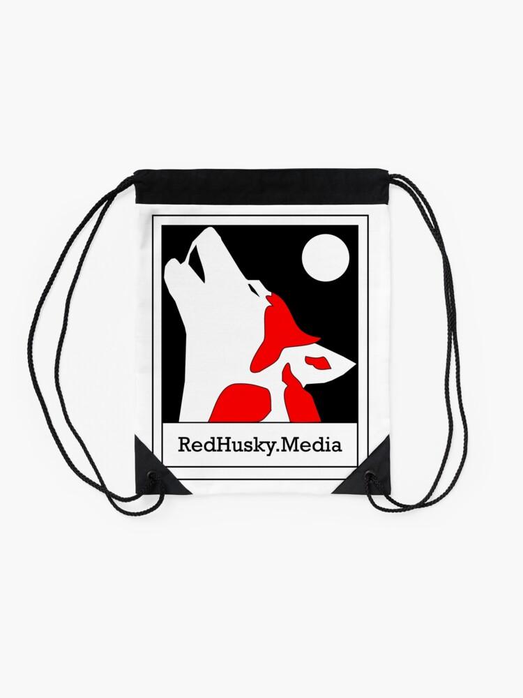 Alternate view of Red Husky Media Logo Drawstring Bag